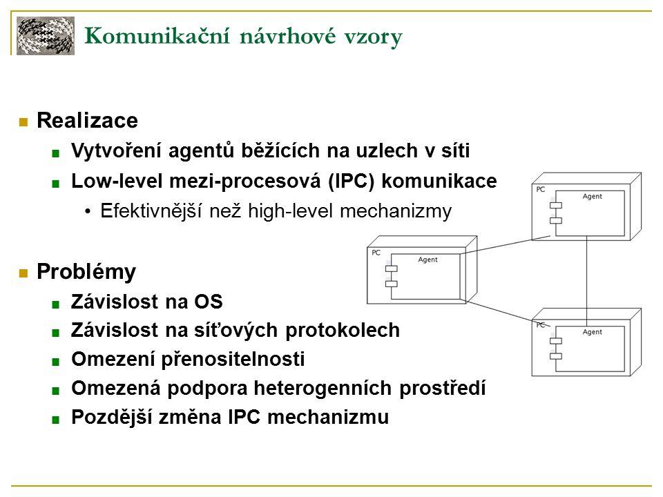 Komunikační návrhové vzory Realizace ■ Vytvoření agentů běžících na uzlech v síti ■ Low-level mezi-procesová (IPC) komunikace Efektivnější než high-level mechanizmy Problémy ■ Závislost na OS ■ Závislost na síťových protokolech ■ Omezení přenositelnosti ■ Omezená podpora heterogenních prostředí ■ Pozdější změna IPC mechanizmu