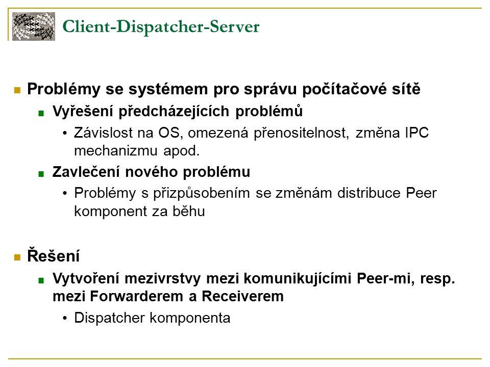 Client-Dispatcher-Server Problémy se systémem pro správu počítačové sítě ■ Vyřešení předcházejících problémů Závislost na OS, omezená přenositelnost, změna IPC mechanizmu apod.