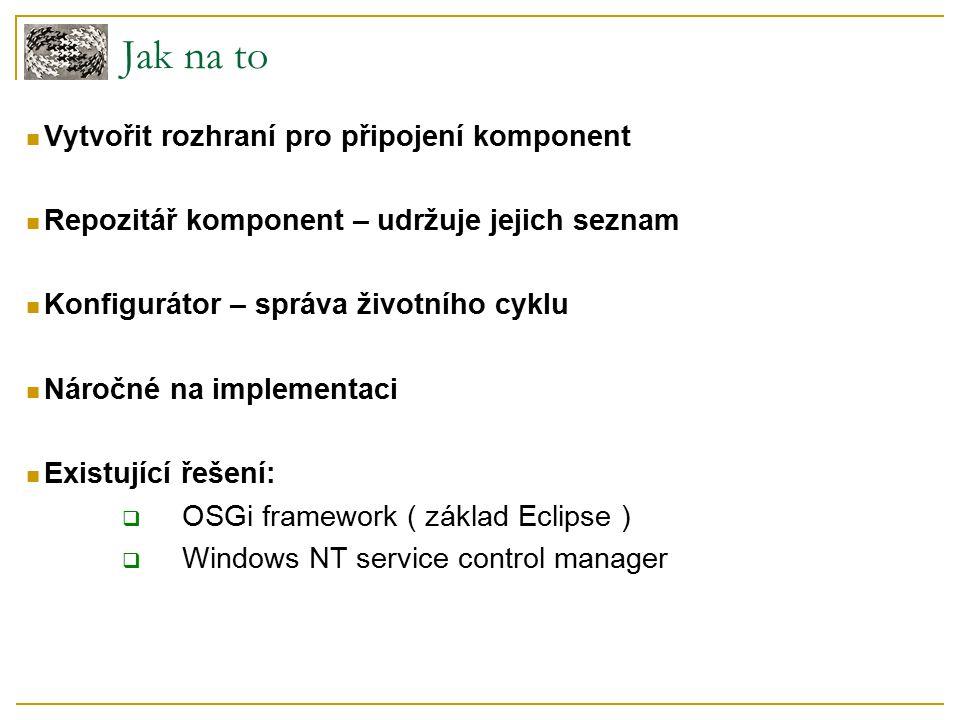 Jak na to Vytvořit rozhraní pro připojení komponent Repozitář komponent – udržuje jejich seznam Konfigurátor – správa životního cyklu Náročné na implementaci Existující řešení:  OSGi framework ( základ Eclipse )  Windows NT service control manager