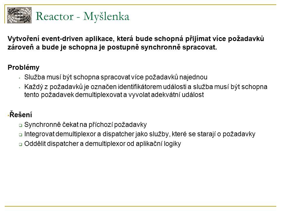 Reactor - Myšlenka Vytvoření event-driven aplikace, která bude schopná přijímat více požadavků zároveň a bude je schopna je postupně synchronně spracovat.
