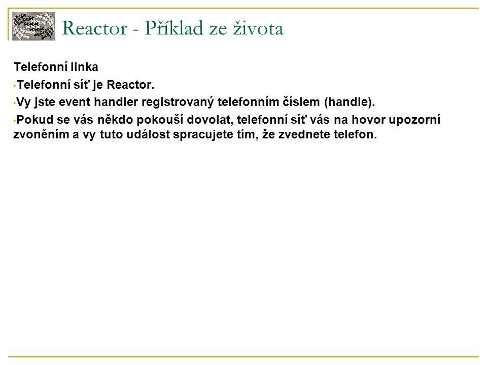 Reactor - Příklad ze života Telefonní linka Telefonní síť je Reactor.