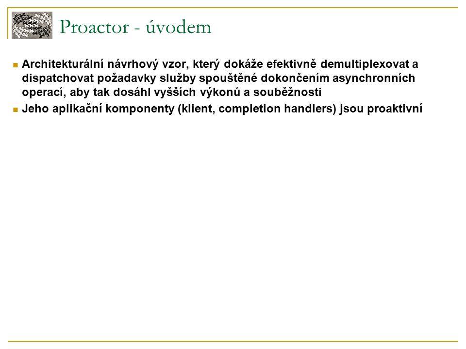 Proactor - úvodem Architekturální návrhový vzor, který dokáže efektivně demultiplexovat a dispatchovat požadavky služby spouštěné dokončením asynchronních operací, aby tak dosáhl vyšších výkonů a souběžnosti Jeho aplikační komponenty (klient, completion handlers) jsou proaktivní
