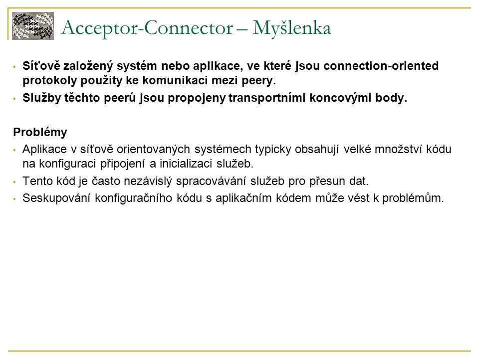 Acceptor-Connector – Myšlenka Síťově založený systém nebo aplikace, ve které jsou connection-oriented protokoly použity ke komunikaci mezi peery.