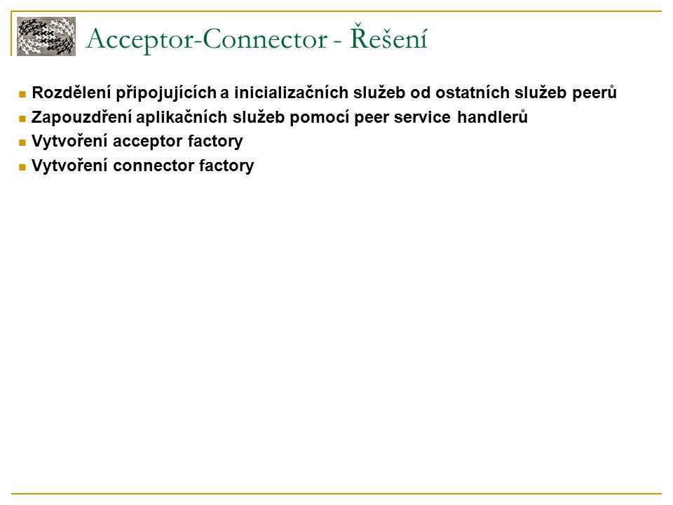 Acceptor-Connector - Řešení Rozdělení připojujících a inicializačních služeb od ostatních služeb peerů Zapouzdření aplikačních služeb pomocí peer service handlerů Vytvoření acceptor factory Vytvoření connector factory