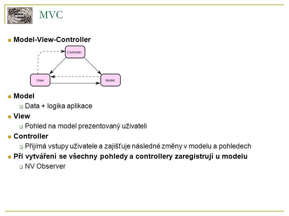 MVC Model-View-Controller Model  Data + logika aplikace View  Pohled na model prezentovaný uživateli Controller  Přijímá vstupy uživatele a zajišťuje následné změny v modelu a pohledech Při vytváření se všechny pohledy a controllery zaregistrují u modelu  NV Observer