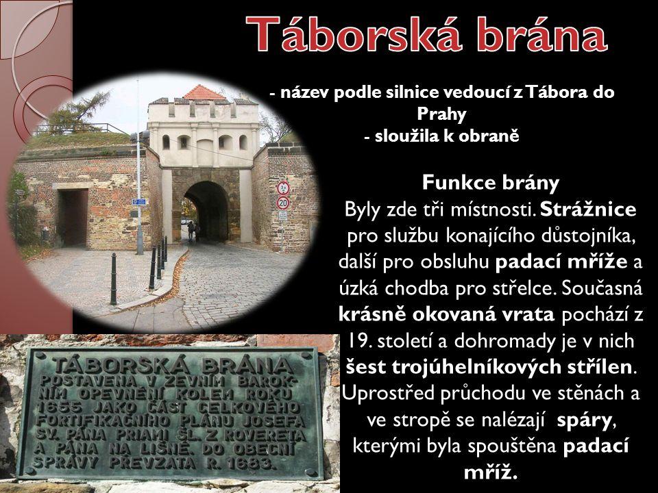 - název podle silnice vedoucí z Tábora do Prahy - sloužila k obraně Funkce brány Byly zde tři místnosti. Strážnice pro službu konajícího důstojníka, d