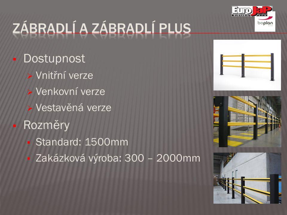  Dostupnost  Vnitřní verze  Venkovní verze  Vestavěná verze  Rozměry  Standard: 1500mm  Zakázková výroba: 300 – 2000mm