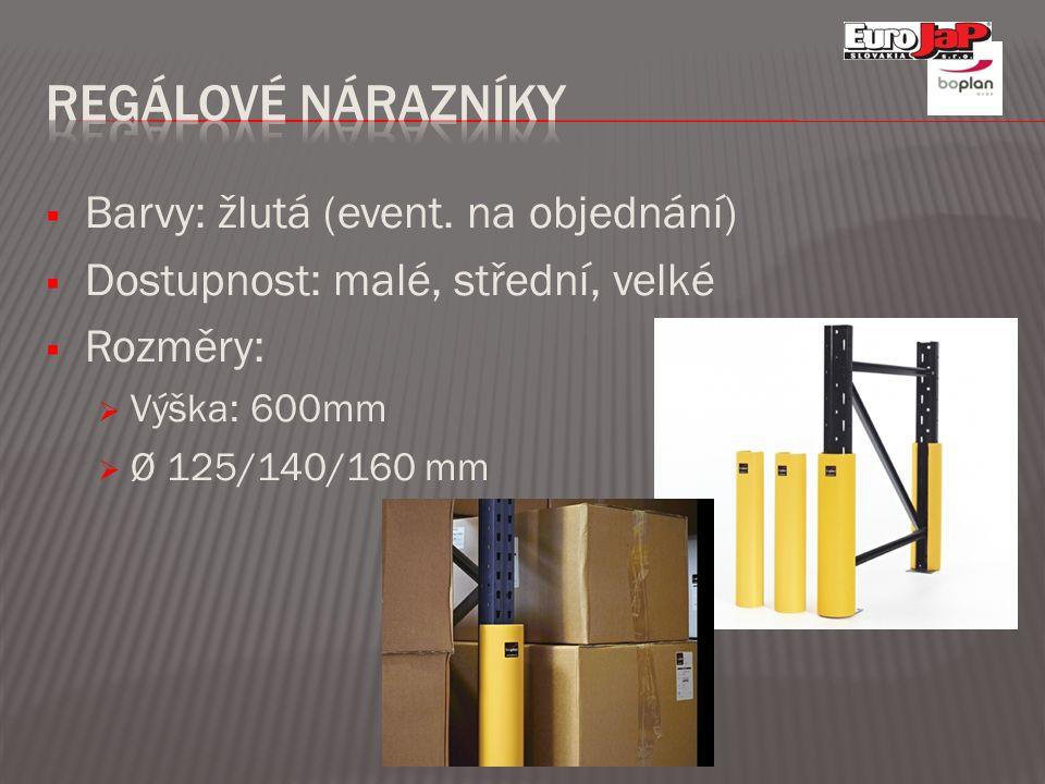  Barvy: žlutá (event. na objednání)  Dostupnost: malé, střední, velké  Rozměry:  Výška: 600mm  Ø 125/140/160 mm