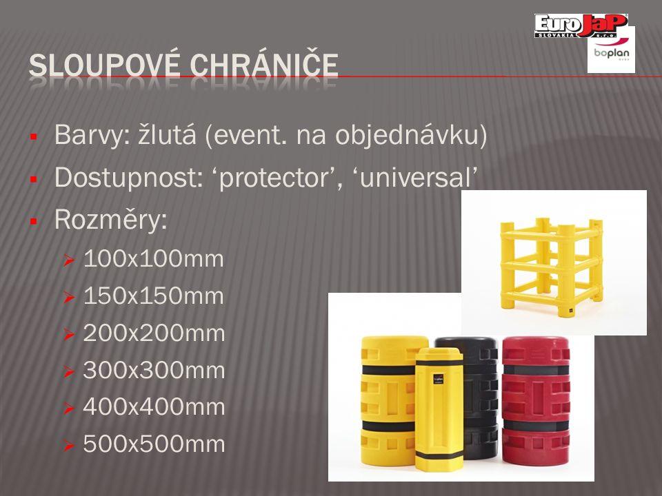  Barvy: žlutá (event. na objednávku)  Dostupnost: 'protector', 'universal'  Rozměry:  100x100mm  150x150mm  200x200mm  300x300mm  400x400mm 