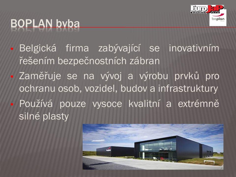  Belgická firma zabývající se inovativním řešením bezpečnostních zábran  Zaměřuje se na vývoj a výrobu prvků pro ochranu osob, vozidel, budov a infr