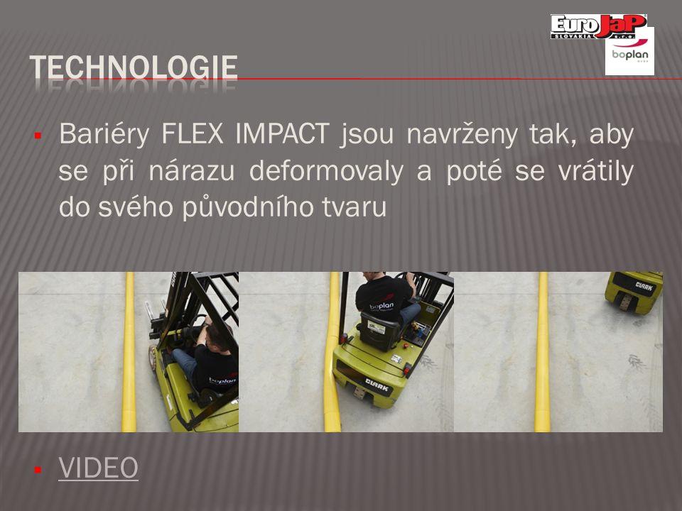  Bariéry FLEX IMPACT jsou navrženy tak, aby se při nárazu deformovaly a poté se vrátily do svého původního tvaru  VIDEO VIDEO