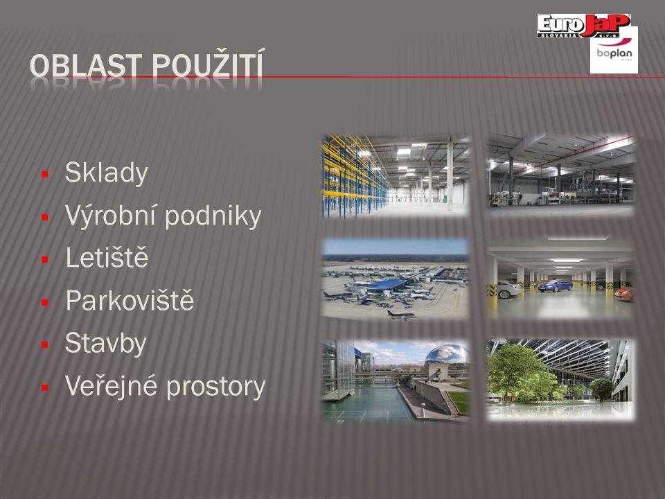  Sklady  Výrobní podniky  Letiště  Parkoviště  Stavby  Veřejné prostory