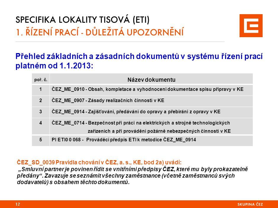 SPECIFIKA LOKALITY TISOVÁ (ETI) 1. ŘÍZENÍ PRACÍ - DŮLEŽITÁ UPOZORNĚNÍ Přehled základních a zásadních dokumentů v systému řízení prací platném od 1.1.2