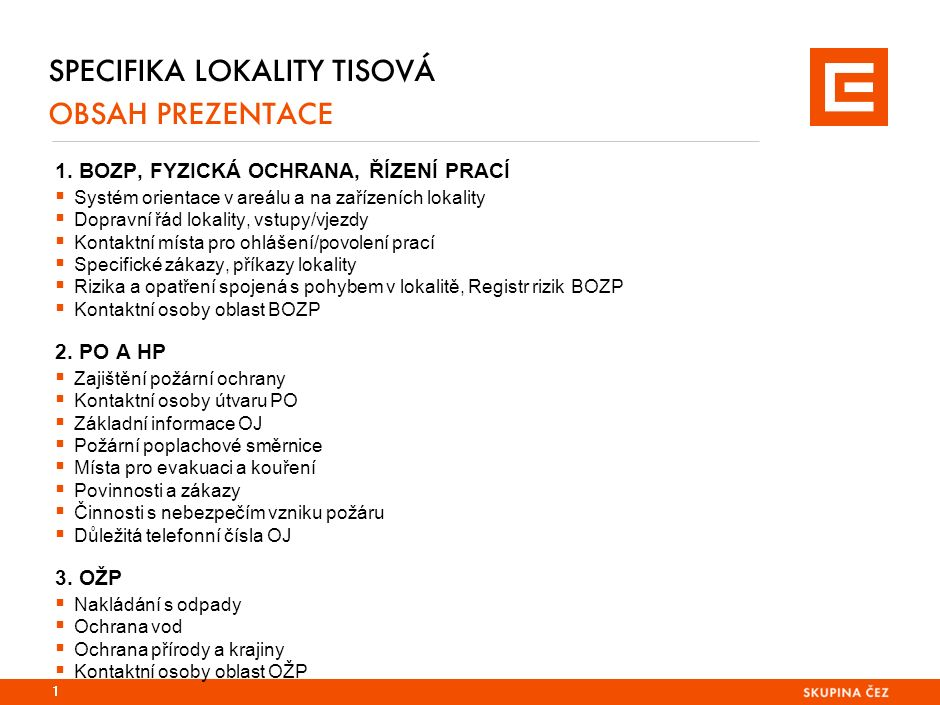 SPECIFIKA LOKALITY TISOVÁ (ETI) 2.ZAJIŠTĚNÍ POŽÁRNÍ OCHRANY V OJ  v Elektrárně Tisová, a.