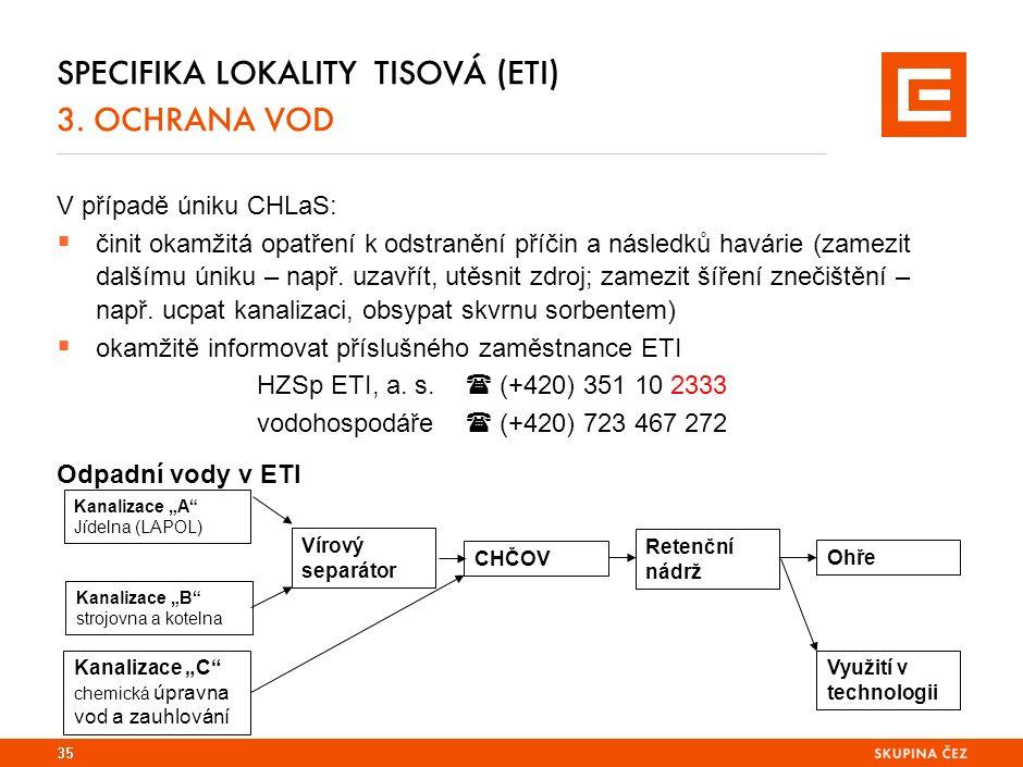 SPECIFIKA LOKALITY TISOVÁ (ETI) 3. OCHRANA VOD V případě úniku CHLaS:  činit okamžitá opatření k odstranění příčin a následků havárie (zamezit dalším