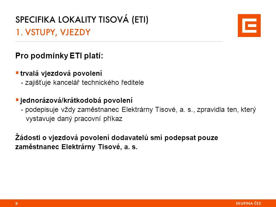 Odpadní vody v ETI SPECIFIKA LOKALITY TISOVÁ (ETI) 3.