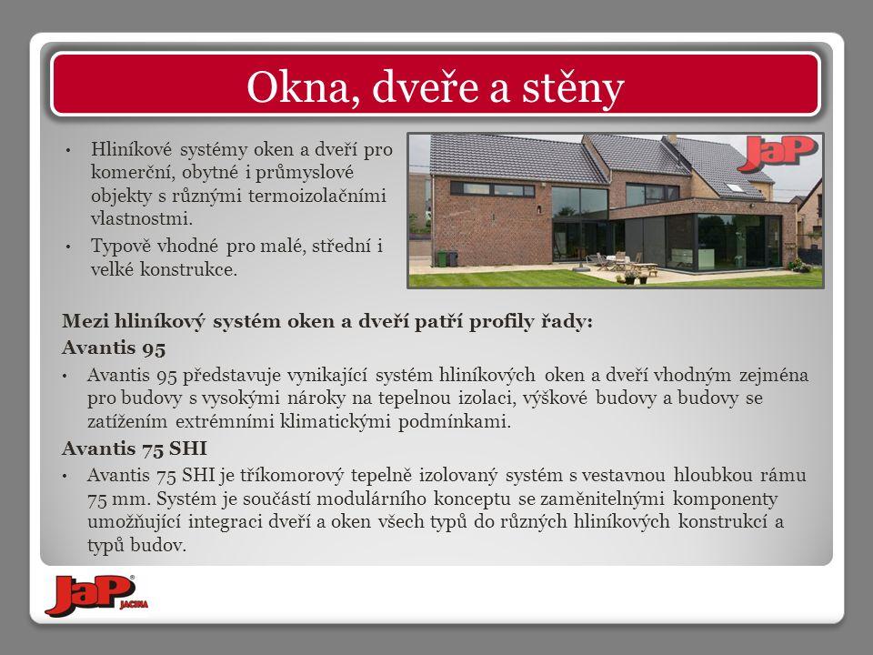 Mezi hliníkový systém oken a dveří patří profily řady: Avantis 95 Avantis 95 představuje vynikající systém hliníkových oken a dveří vhodným zejména pro budovy s vysokými nároky na tepelnou izolaci, výškové budovy a budovy se zatížením extrémními klimatickými podmínkami.