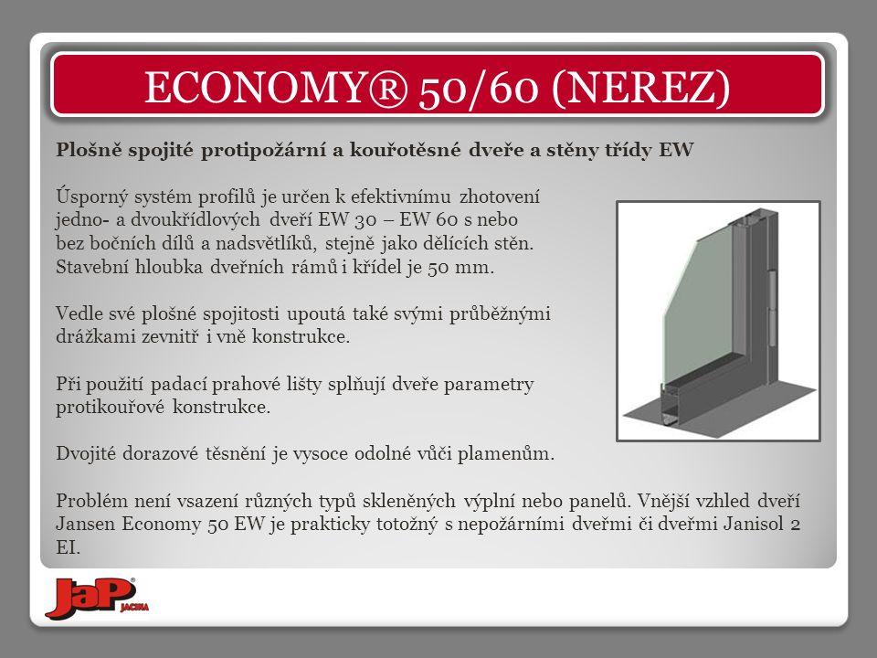 Plošně spojité protipožární a kouřotěsné dveře a stěny třídy EW Úsporný systém profilů je určen k efektivnímu zhotovení jedno- a dvoukřídlových dveří EW 30 – EW 60 s nebo bez bočních dílů a nadsvětlíků, stejně jako dělících stěn.