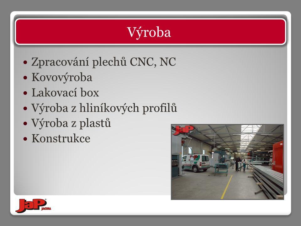 Zpracování plechů CNC, NC Kovovýroba Lakovací box Výroba z hliníkových profilů Výroba z plastů Konstrukce