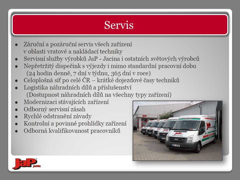 Záruční a pozáruční servis všech zařízení v oblasti vratové a nakládací techniky Servisní služby výrobků JaP - Jacina i ostatních světových výrobců Nepřetržitý dispečink s výjezdy i mimo standardní pracovní dobu (24 hodin denně, 7 dní v týdnu, 365 dní v roce) Celoplošná síť po celé ČR – krátké dojezdové časy techniků Logistika náhradních dílů a příslušenství (Dostupnost náhradních dílů na všechny typy zařízení) Modernizaci stávajících zařízení Odborný servisní zásah Rychlé odstranění závady Kontrolní a povinné prohlídky zařízení Odborná kvalifikovanost pracovníků