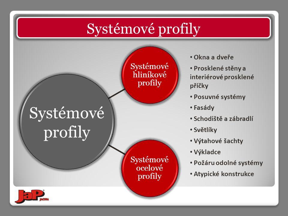 Systémové hliníkové profily Systémové ocelové profily Systémové profily Okna a dveře Prosklené stěny a interiérové prosklené příčky Posuvné systémy Fa