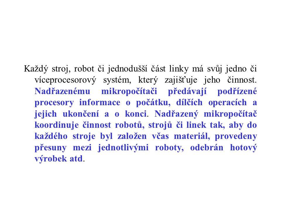 Každý stroj, robot či jednodušší část linky má svůj jedno či víceprocesorový systém, který zajišťuje jeho činnost. Nadřazenému mikropočítači předávají