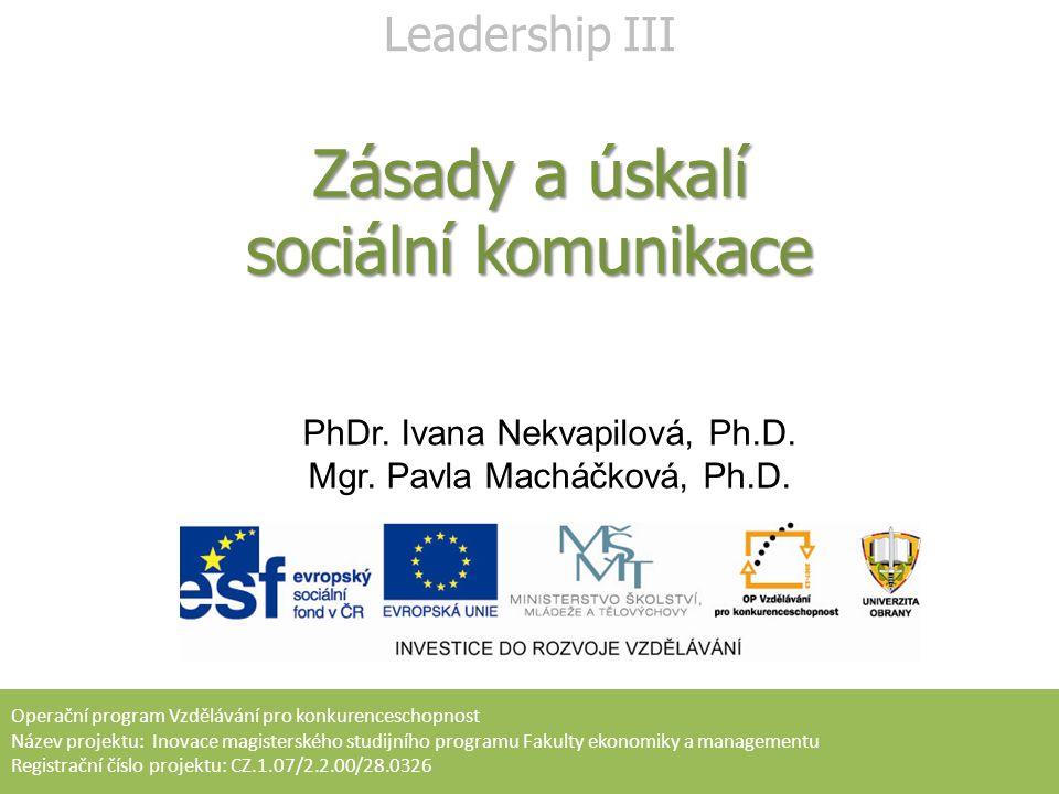 PhDr. Ivana Nekvapilová, Ph.D. Mgr. Pavla Macháčková, Ph.D. Operační program Vzdělávání pro konkurenceschopnost Název projektu: Inovace magisterského