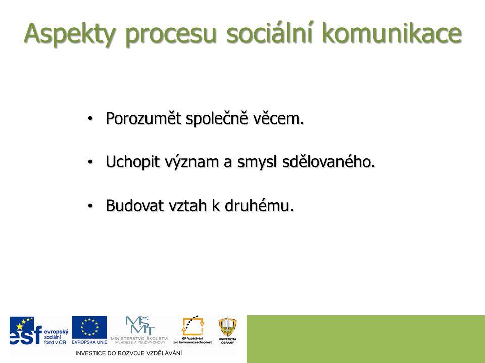 Aspekty procesu sociální komunikace Porozumět společně věcem.