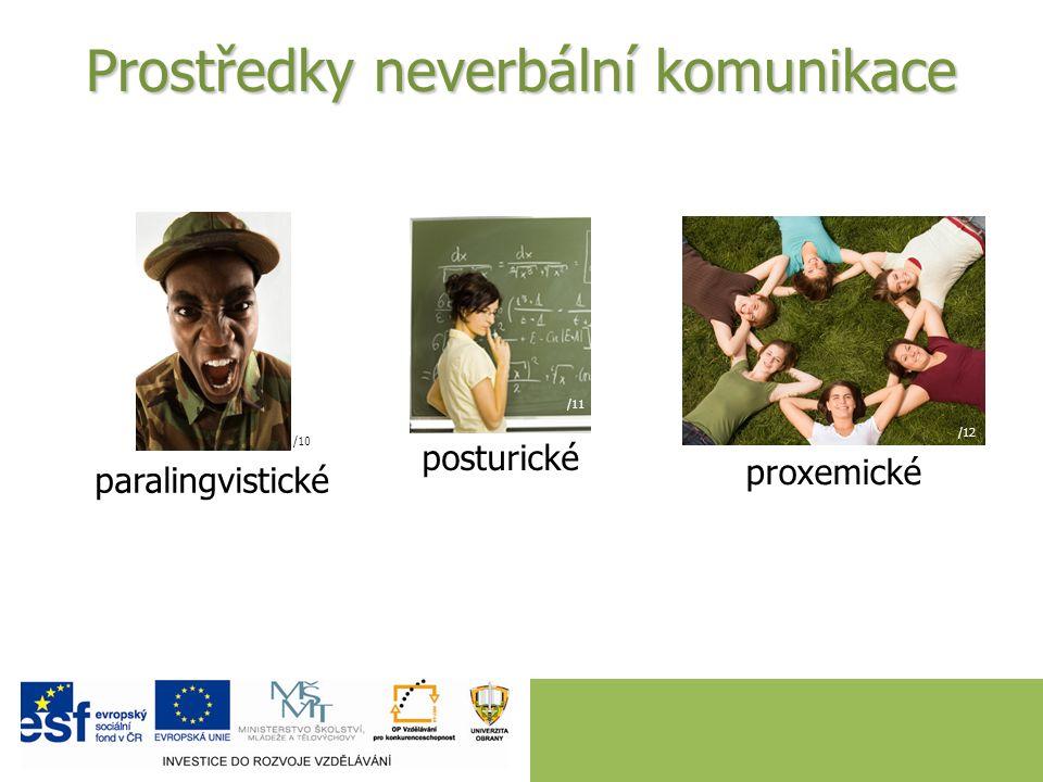 Prostředky neverbální komunikace paralingvistické /10 posturické /11 proxemické /12