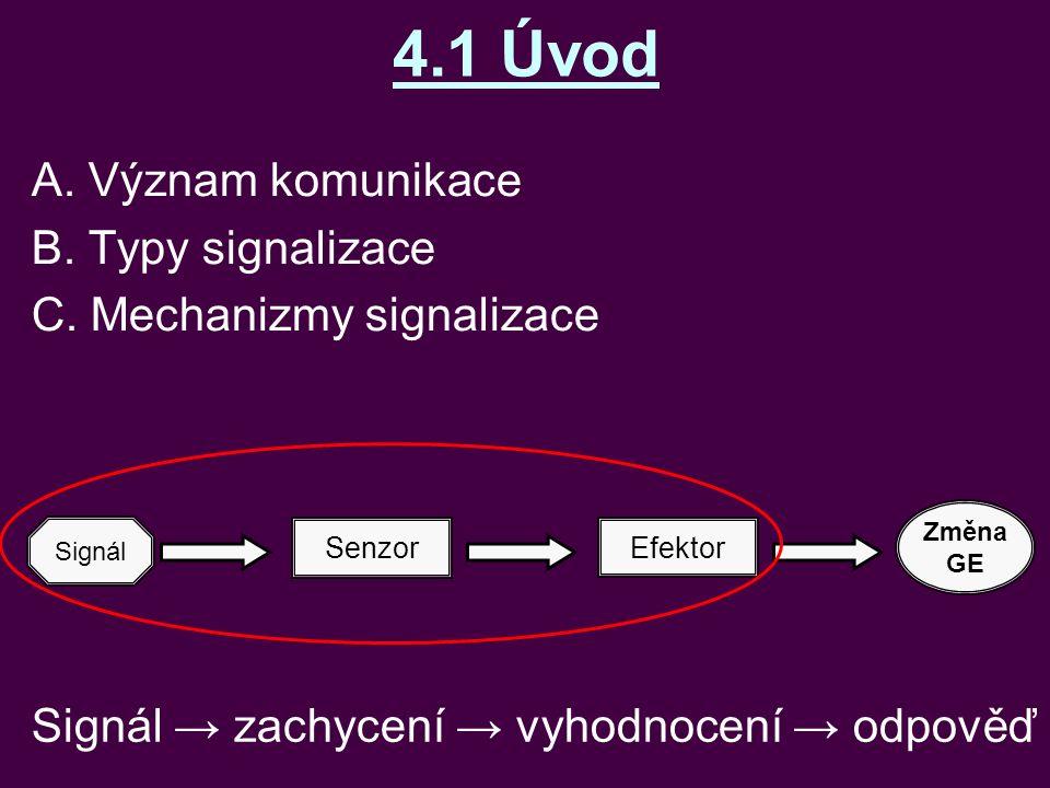 4.1 Úvod A. Význam komunikace B. Typy signalizace C. Mechanizmy signalizace Senzor Efektor Změna GE Signál Signál → zachycení → vyhodnocení → odpověď