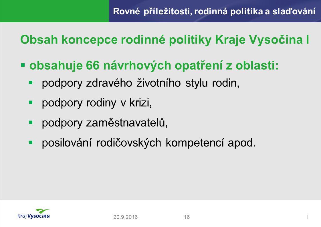 Zdeněk Kadlec, ředitel1620.9.2016 Obsah koncepce rodinné politiky Kraje Vysočina I  obsahuje 66 návrhových opatření z oblasti:  podpory zdravého životního stylu rodin,  podpory rodiny v krizi,  podpory zaměstnavatelů,  posilování rodičovských kompetencí apod.