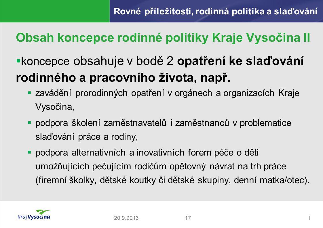 Zdeněk Kadlec, ředitel1720.9.2016 Obsah koncepce rodinné politiky Kraje Vysočina II  koncepce obsahuje v bodě 2 opatření ke slaďování rodinného a pracovního života, např.