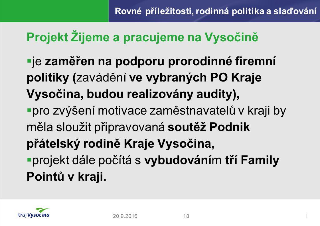 Zdeněk Kadlec, ředitel Projekt Žijeme a pracujeme na Vysočině  je zaměřen na podporu prorodinné firemní politiky (zavádění ve vybraných PO Kraje Vysočina, budou realizovány audity),  pro zvýšení motivace zaměstnavatelů v kraji by měla sloužit připravovaná soutěž Podnik přátelský rodině Kraje Vysočina,  projekt dále počítá s vybudováním tří Family Pointů v kraji.