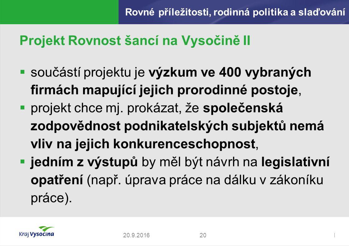 Zdeněk Kadlec, ředitel Projekt Rovnost šancí na Vysočině II  součástí projektu je výzkum ve 400 vybraných firmách mapující jejich prorodinné postoje,  projekt chce mj.