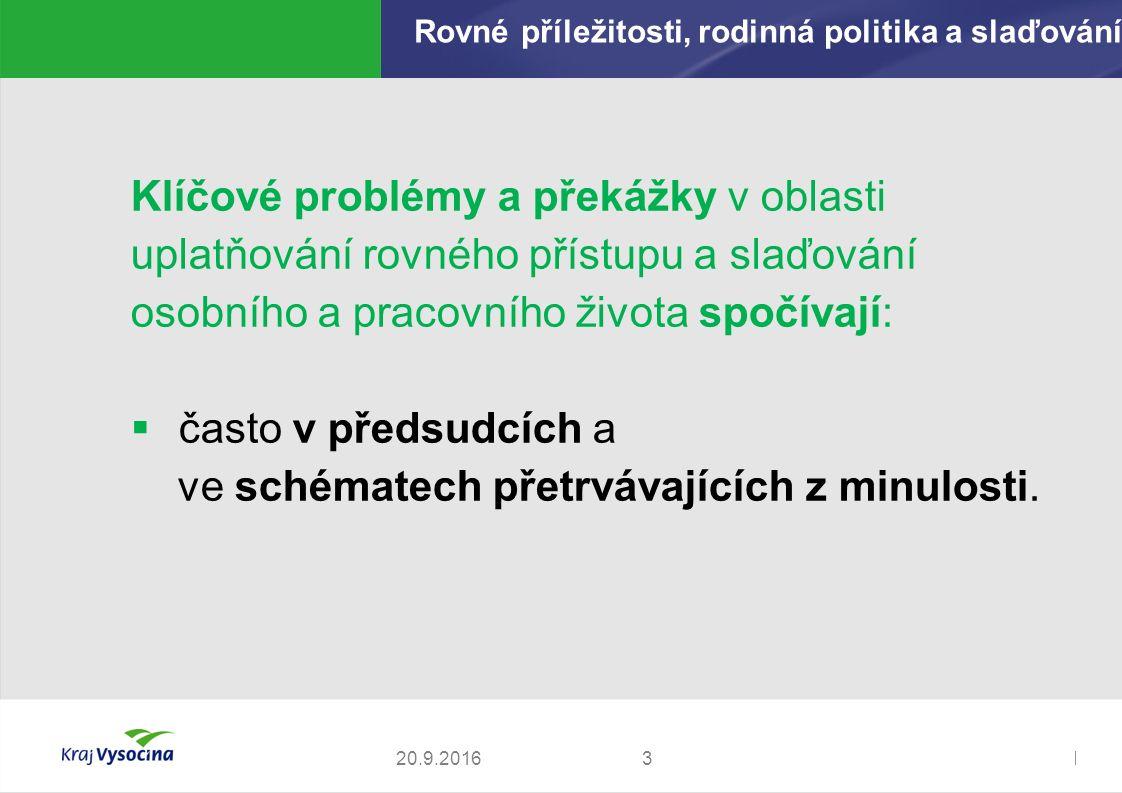 Zdeněk Kadlec, ředitel320.9.2016 Klíčové problémy a překážky v oblasti uplatňování rovného přístupu a slaďování osobního a pracovního života spočívají:  často v předsudcích a ve schématech přetrvávajících z minulosti.