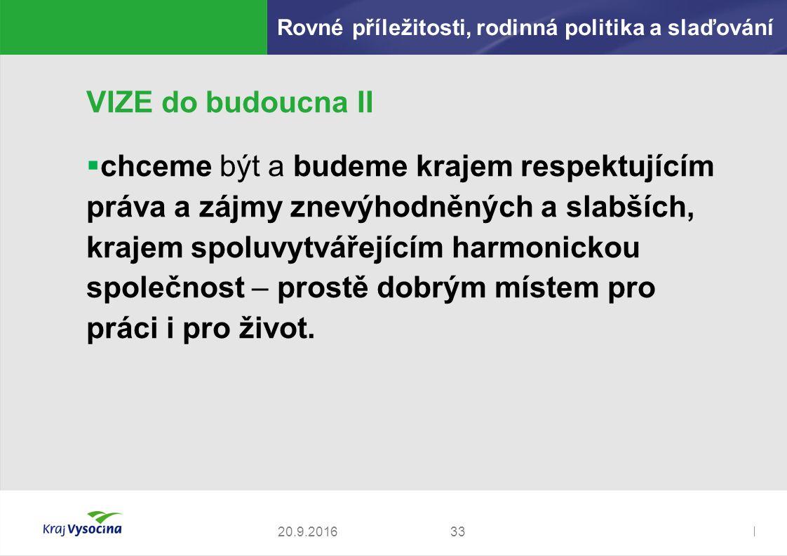 Zdeněk Kadlec, ředitel3320.9.2016 VIZE do budoucna II  chceme být a budeme krajem respektujícím práva a zájmy znevýhodněných a slabších, krajem spoluvytvářejícím harmonickou společnost – prostě dobrým místem pro práci i pro život.