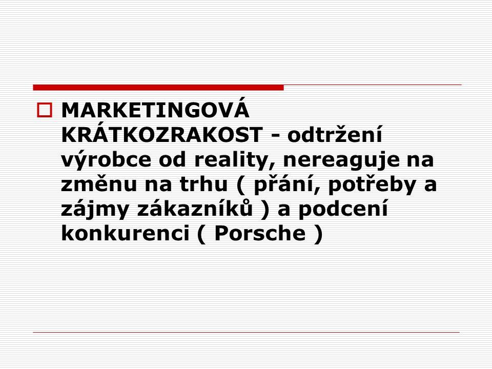  MARKETINGOVÁ KRÁTKOZRAKOST - odtržení výrobce od reality, nereaguje na změnu na trhu ( přání, potřeby a zájmy zákazníků ) a podcení konkurenci ( Porsche )
