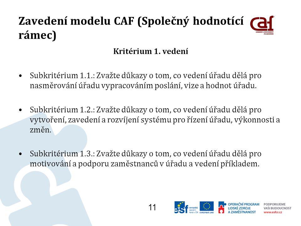 Zavedení modelu CAF (Společný hodnotící rámec) Kritérium 1.