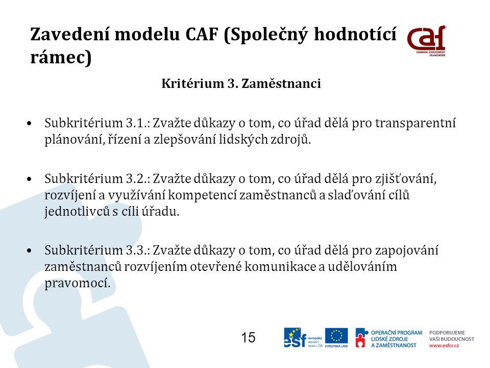 Zavedení modelu CAF (Společný hodnotící rámec) Kritérium 3.