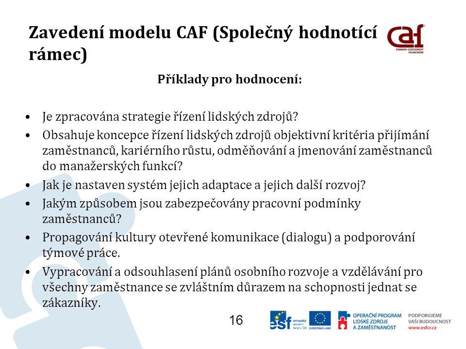Zavedení modelu CAF (Společný hodnotící rámec) Příklady pro hodnocení: Je zpracována strategie řízení lidských zdrojů.