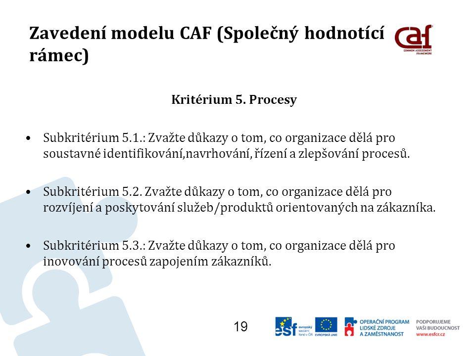 Zavedení modelu CAF (Společný hodnotící rámec) Kritérium 5.