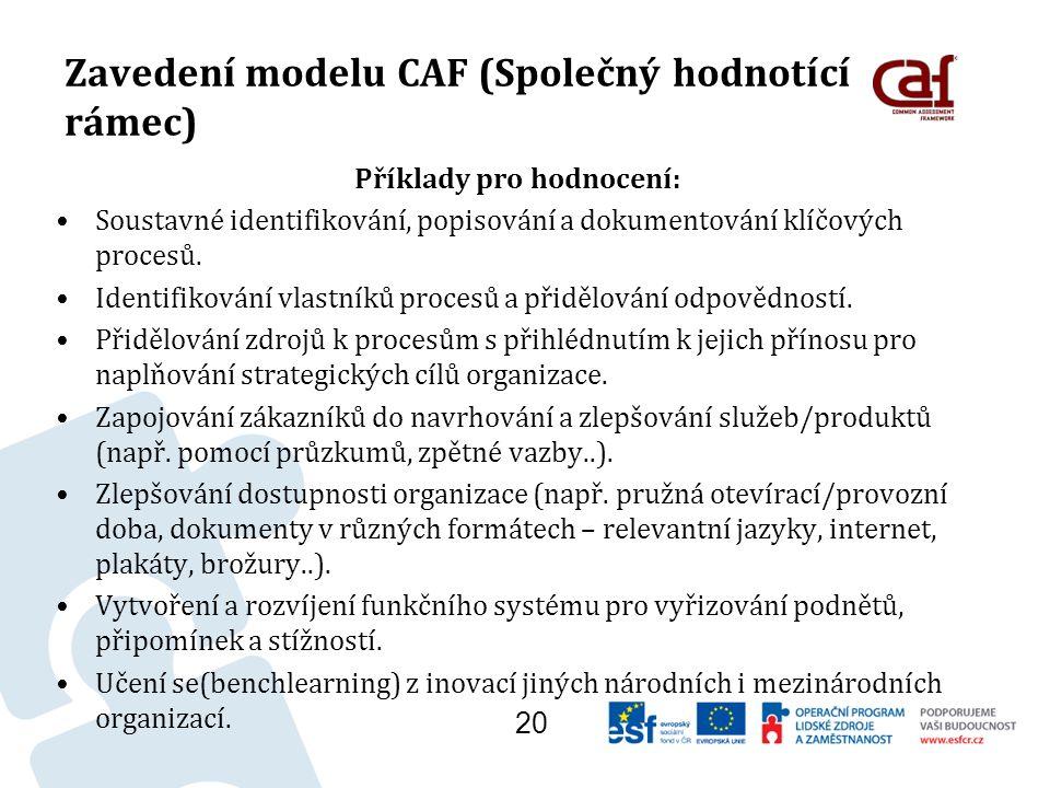 Zavedení modelu CAF (Společný hodnotící rámec) Příklady pro hodnocení: Soustavné identifikování, popisování a dokumentování klíčových procesů.