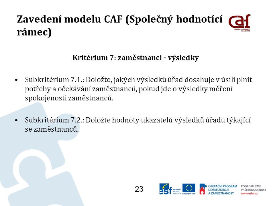 Zavedení modelu CAF (Společný hodnotící rámec) Kritérium 7: zaměstnanci - výsledky Subkritérium 7.1.: Doložte, jakých výsledků úřad dosahuje v úsilí plnit potřeby a očekávání zaměstnanců, pokud jde o výsledky měření spokojenosti zaměstnanců.