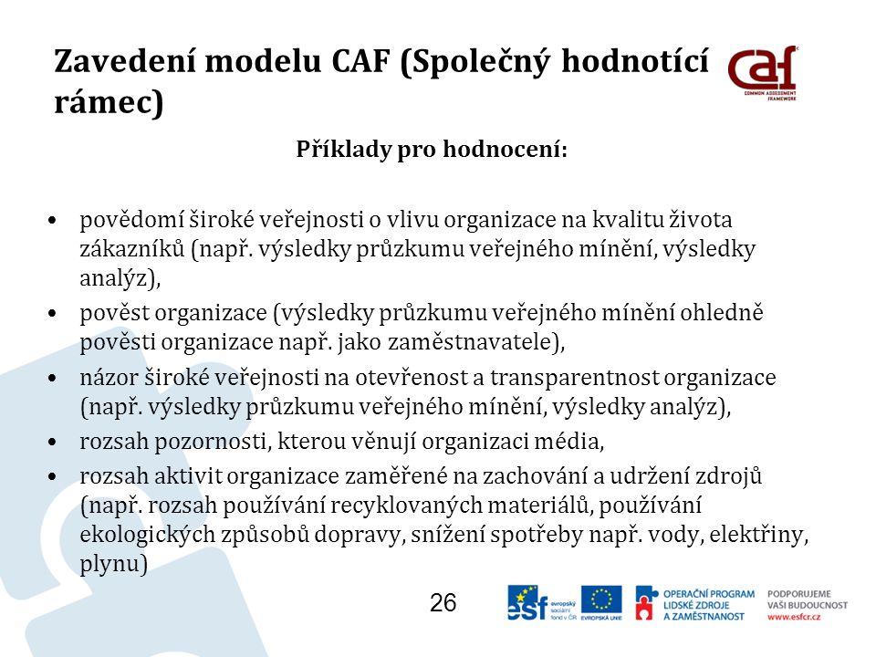 Zavedení modelu CAF (Společný hodnotící rámec) Příklady pro hodnocení: povědomí široké veřejnosti o vlivu organizace na kvalitu života zákazníků (např.