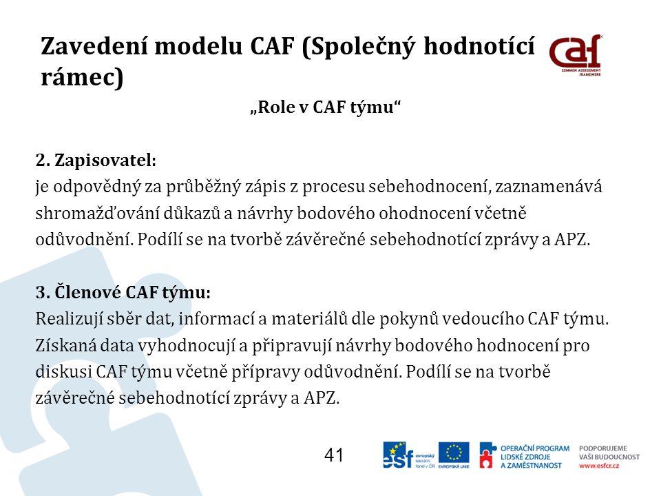 """Zavedení modelu CAF (Společný hodnotící rámec) """"Role v CAF týmu 2."""