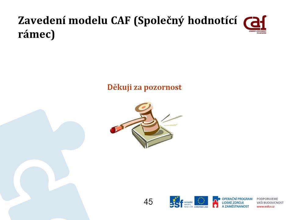 Zavedení modelu CAF (Společný hodnotící rámec) Děkuji za pozornost 45