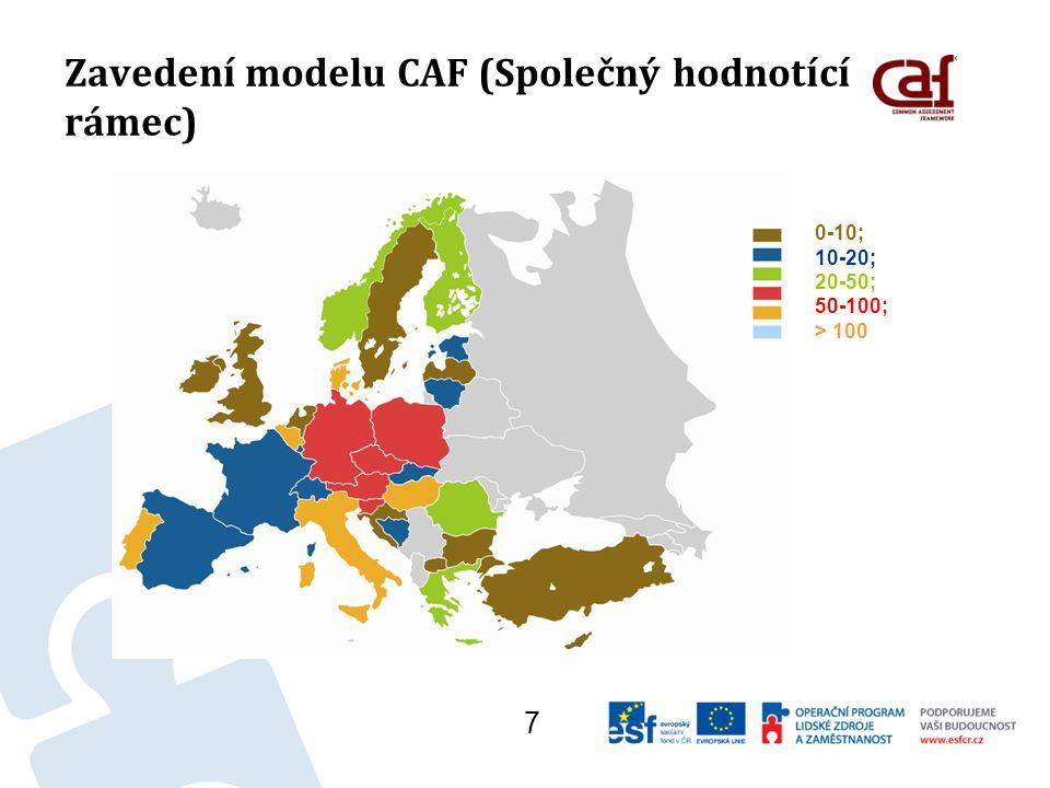 Zavedení modelu CAF (Společný hodnotící rámec) Příklady pro hodnocení: Jak jsou podporovány činnosti v oblasti společenské odpovědnosti organizace.