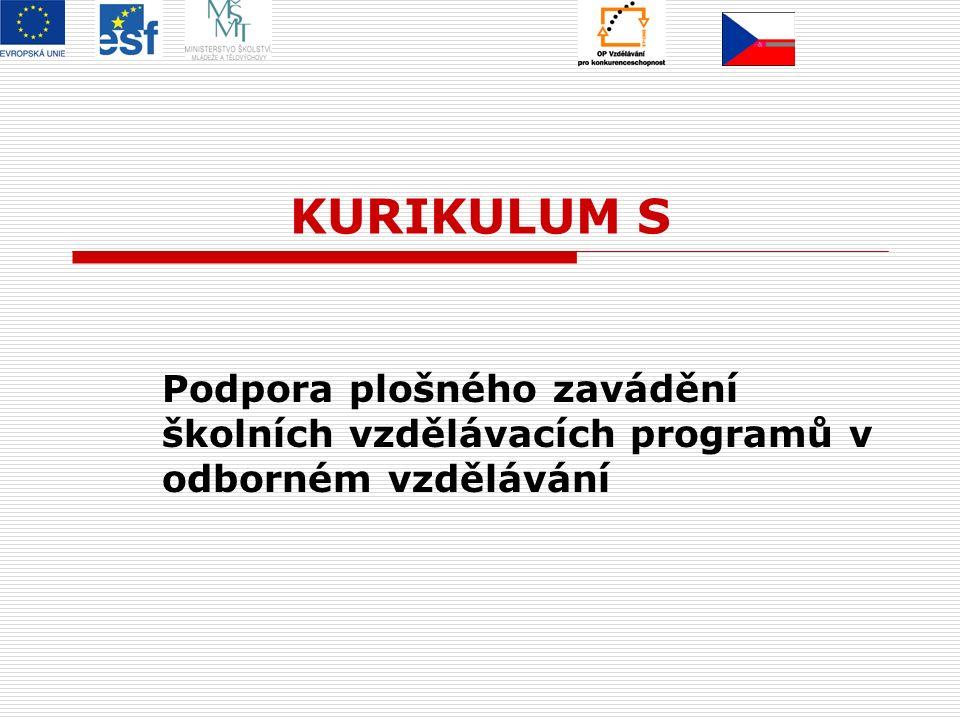 KURIKULUM S Podpora plošného zavádění školních vzdělávacích programů v odborném vzdělávání