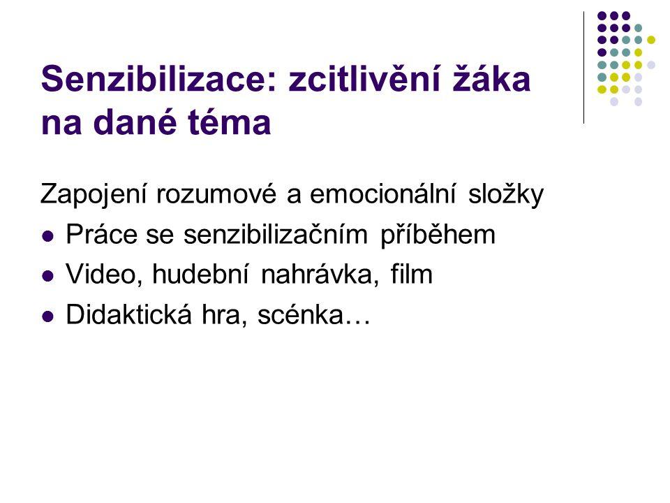 Senzibilizace: zcitlivění žáka na dané téma Zapojení rozumové a emocionální složky Práce se senzibilizačním příběhem Video, hudební nahrávka, film Didaktická hra, scénka…