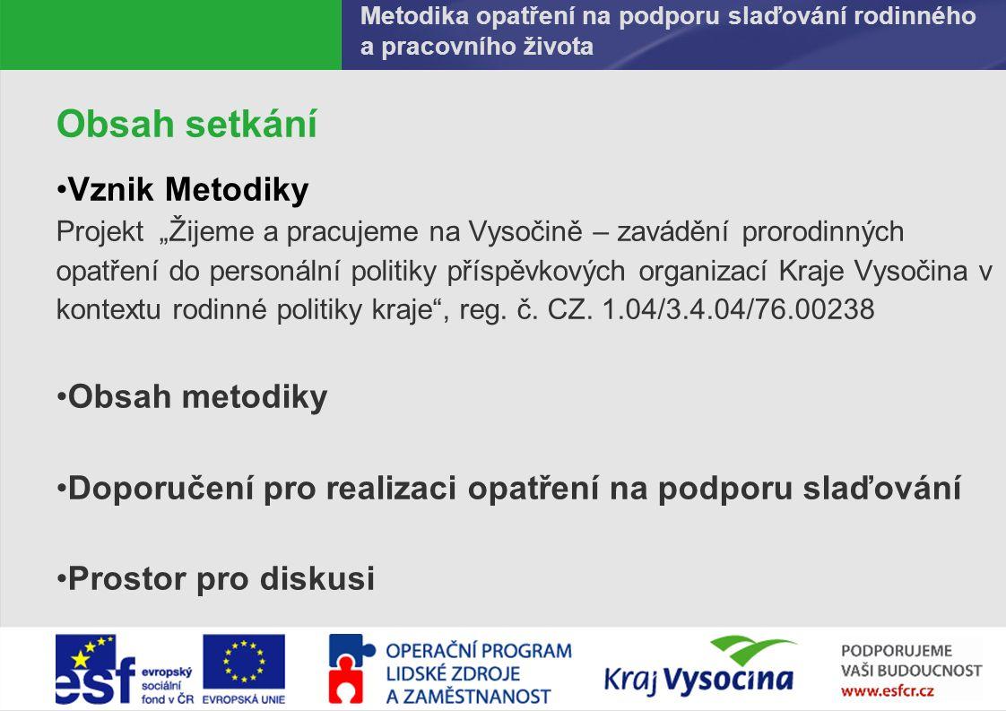 PREZENTUJÍCÍ320.9.2016 Tvorba Metodiky Aktivita projektu i Kraje Vysočina Rodinné/genderové audity Strategický plán rozvoje Kraje Vysočina vnímá potřebu zvyšovat kvalitu sociálního a rodinného prostředí zlepšováním podmínek na trhu práce a podporou prorodinné politiky (2006) Na základě sekundární analýzy závěrečných zpráv z genderových auditů Analýza hodnocení plnění jednotlivých indikátorů auditů Analýza navrhovaných doporučení auditů Identifikace oblastí tvorby opatření na podporu slaďování pro příspěvkové organizace Autorství Metodiky a PODĚKOVÁNÍ Metodika opatření na podporu slaďování rodinného a pracovního života